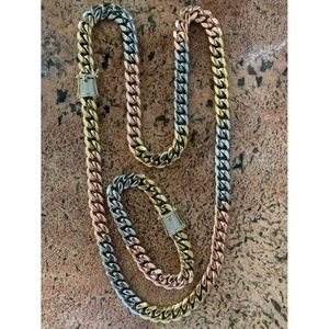 Harlembling Gold Diamond Cuban Chain & Bracelet